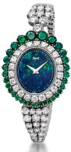 Piaget opal, emeralds and diamonds watch.