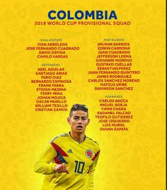 Colombia announces expanded preliminary squad for Russia 2018 list includes 11 survivors from Brazil 2014 Final squad lists will be published by FIFA on 4 June World Cup Russia 2018, World Cup 2018, Fifa World Cup, James Rodriguez, Fifa 20, Squad, Football Soccer, Finals, Crowd
