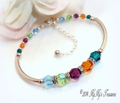 Sterling Silver Mothers Birthstone Bracelet with Swarovski Crystals, Mothers Jewelry, Birthstone Jewelry, Birthstone Bracelet, Gifts for Mom #etsygift #handmade