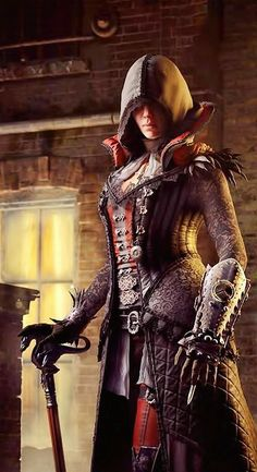 Save for the cleavage, Evie (I think) looks just like a female Assassin should! No oversexualization, badass cape.