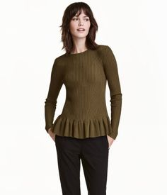 Dark khaki. Fitted, long-sleeved sweater in a rib knit with a slight sheen. Flounce at hem.