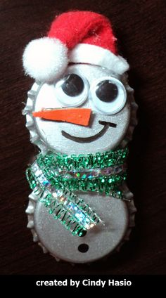 Image detail for -Homemade Christmas Ornaments - Bubbly the Bottle Cap Snowman or water bottle lids.