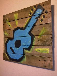 Rustic wall art,Guitar decor 20x20,Wall Guitar Art,wooden acoustic guitar,pallet art,boys,rock and roll,kids bedroom,musical instruments,