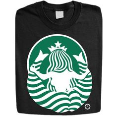 Stabilitees Funny Starbucks Coffee Sexy Mermaid from back FHM Top100 Mens T Shirts, Black, Small