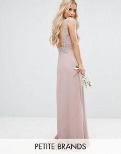 TFNC Petite – Maxi-Hochzeitskleid mit hohem Kragen und verziertem, tiefen Rückenausschnitt