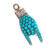 Antique Turquoise Diamond Hand Pendant - The Three Graces