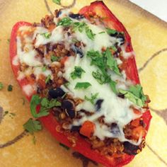 Here's a vegetarian update on a vintage comfort food meal. Instead of ground meat, the peppers hold a hearty, protein-rich combo of quinoa and black beans seasoned with a smoky Southwestern spice blend.