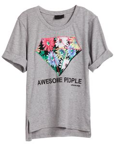 Grey Short Sleeve Flowers Diamond Print T-Shirt - Sheinside.com