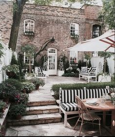 Brick lined courtyard