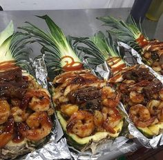 Pineapple chicken steak and shrimp with fried rice! No recipe but I'm definitely making this! Seafood Dishes, Seafood Recipes, Cooking Recipes, Healthy Recipes, Chicken Recipes, Steak And Shrimp, Chicken Steak, Food Cravings, Asian