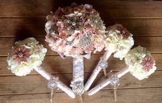 Rustic Burlap & Lace Brooch Bouquets for the Bride & her Bridesmaids with matching Brooch Boutonnieres by The Flower Co.