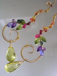 In Love with Life....Rainbow Gemstone Bejeweled Signature Original gf Scroll Ended Vine Earrings  258.00