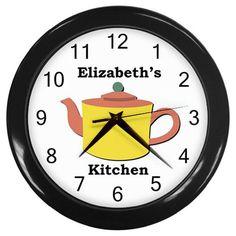 Custom Personalized Yellow Teapot Plastic Black Frame Novelty Kitchen Wall Clock #CustomMade #Novelty #clock #kitchen