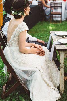 Rustic vintage lake house wedding // Lian Carlo gown.