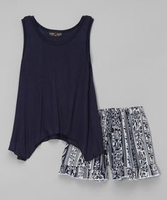Loving this Navy Sidetail Tunic & Floral Shorts on #zulily! #zulilyfinds