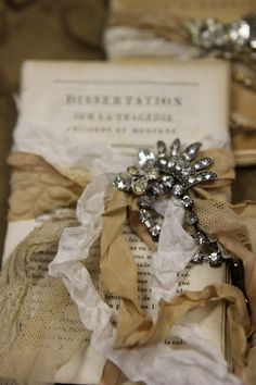 Romancing the Home - beautiful book bundles with vintage trims and jewels