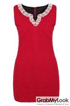 GrabMyLook Red Beaded Woolen Sleeveless V Neck Dress Skirt