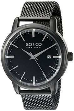 SO&CO New York Men's 5207.4 Madison Quartz Date Black Stainless Steel Mesh Bracelet Watch by SO&CO New York -- Awesome products selected by Anna Churchill