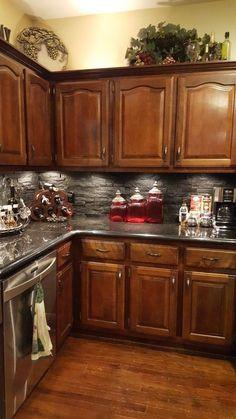 dark kitchen cabinets 46 lovely kitchen backsplash with dark cabinets decor ideas 38 Dark Wood Kitchens, Rustic Kitchen Cabinets, Kitchen Cabinet Styles, Painting Kitchen Cabinets, Home Kitchens, Kitchen Decor, Kitchen Ideas, Kitchen Cupboard, Kitchen Designs