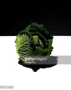 Stock-Foto : Savoy Cabbage on white surface