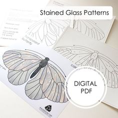 Materials For Stained Glass Stained Glass Pattern Panel Stained Glass Patterns Free, Stained Glass Birds, Stained Glass Designs, Stained Glass Panels, Stained Glass Projects, Fused Glass, Free Mosaic Patterns, Glass Butterfly, Butterfly Pattern