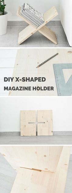 DIY X-shaped Magazine Holder from www.homedit.com
