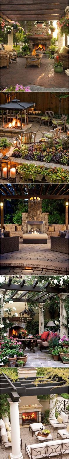 #outdoors #outdoorspace #outdoorliving #landscaping #trellis ideas #fireplace