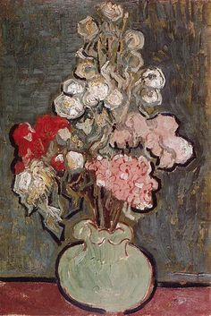 Vincent van Gogh: Still life: Vase with Rose-Mallows.  Oil on canvas.  Auvers-sur-Oise: June, 1890.  Amsterdam: Van Gogh Museum. (Info from vggallery.com)