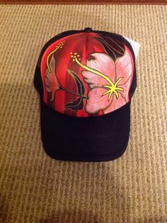 b81afd7fa1567 Hand painted tropical flower trucker hat