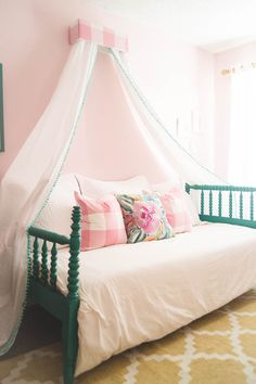 Sweetest little girls bedroom makeover with Better Homes and Gardens goods, from Walmart! Beauty on a budget.