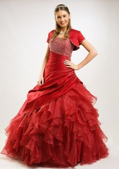 Ball Gown Strapless Floor-length in Satin Organza Quinceanera Dress