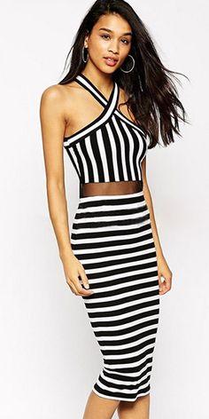 Sexy See-through Gauze Spliced Halter Striped Dress