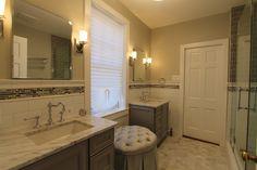 Frameless Shower Doors, Shower Niche, Large Shower, Master Bathroom, Bathroom Ideas, Bathrooms, Mirror, Bedroom, Furniture
