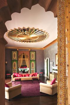 Taj Palace Luxury hotel in Marrakech Moroccan Style Bedroom, Moroccan Interiors, Moroccan Design, Moroccan Decor, Bold Living Room, Indian Living Rooms, Living Room Decor, Living Room Light Fixtures, Living Room Lighting