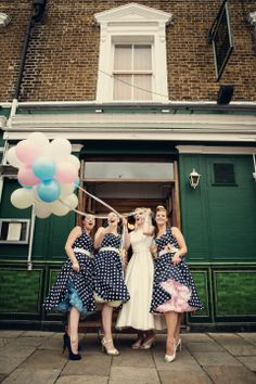 Pastel Balloons and an Audrey Style Dress for a Very British London Pub Wedding