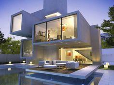 Maison cube : forme minimaliste, conception élaborée