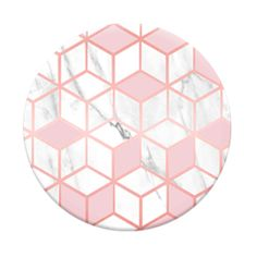 "Popsockets ""Pink Sugar"" design: pink cubes on white marble"