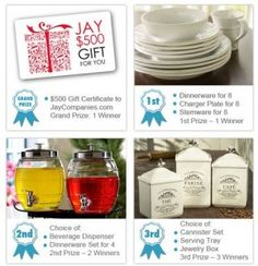 Fall Spectacular Giveaway-    I am joining Blog Catalog and  Jay Companies and sharing their Fall Spectacular Giveaway with all of my sweet  bloggy friends. You only have a few days to enter though it ends on November 26th!  Jay Companies. com has specialized in fine and casual dinnerware,