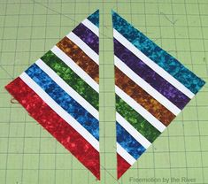 Bright Jewel Table Runner Tutorial fabrics sewed together cut diagonally Table Topper Patterns, Quilted Table Toppers, Quilted Table Runners, Table Runner Tutorial, Table Runner Pattern, Crazy Quilt Blocks, Quilt Block Patterns, Jellyroll Quilts, Easy Quilts