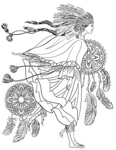 Indigenous Woman in a Traditional Costume coloring page from Native Americans category. Select from 31983 printable crafts of cartoons, nature, animals, Bible and many more. Pattern Coloring Pages, Mandala Coloring Pages, Free Printable Coloring Pages, Free Coloring Pages, Coloring Books, Coloring Sheets, American Indian Costume, Indian Costumes, Indian Symbols
