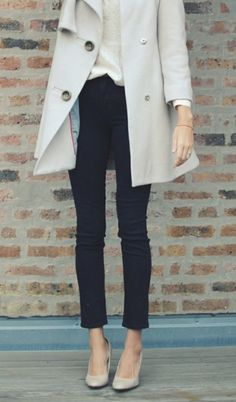 Gray coat, white button down, black cigarette pants and gray flats