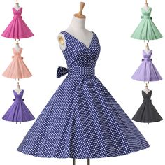 Housewife Vintage Retro Style 50s Polka Dots Swing Party Pinup Rockabilly Dress #Unbranded #VNeck