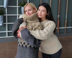 Thick Sweaters, Cute Sweaters, Girls Sweaters, Chunky Cable Knit Sweater, Mohair Sweater, Gros Pull Mohair, Norwegian Style, Icelandic Sweaters, Thing 1