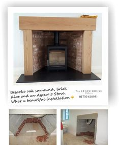 The Stove House designed a bespoke oak surround to frame the opening and installed a Parkray Aspect 5 wood burner on a large slate hearth. Call us 01730 810931 Bioethanol Fireplace, Home Fireplace, Living Room With Fireplace, Fireplace Ideas, Electric Log Burner, Electric Stove Fire, Cheap Stoves, Inset Stoves, Modern Stoves