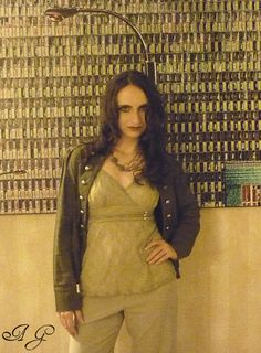Jessica Lauren Vine - Model Photography, Hair, Make Up and Wardrobe - Ann Gray Vintage Brass Designer Chain with Carved Unakite Bead Necklace by Ann's Jewelry Collection https://www.etsy.com/listing/84857395/vintage-brass-designer-chain-with-carved?