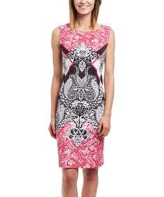 Love this Fuchsia & Black Arabesque Sheath Dress by Phase Seven on #zulily! #zulilyfinds