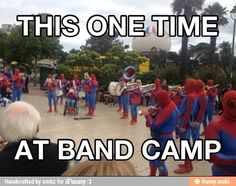 Spiderman Marching Band by newton - A Member of the Internet's Largest Humor Community Band Mom, Band Nerd, Love Band, Band Puns, Band Jokes, Music Jokes, Music Humor, Funny Music, Marching Band Memes