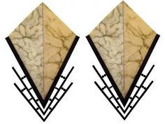 Pair French Art Deco Alabaster and Wrought Iron Sconces | Modernism