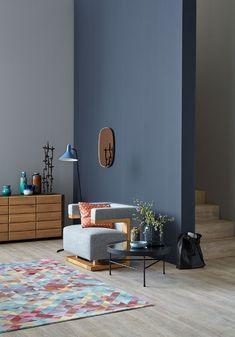 cooles wohnzimmer im modernen stil wir lieben besonders die wand in anthrazit