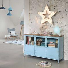 Metal glazed sideboard in blue W 130cm | Maisons du Monde